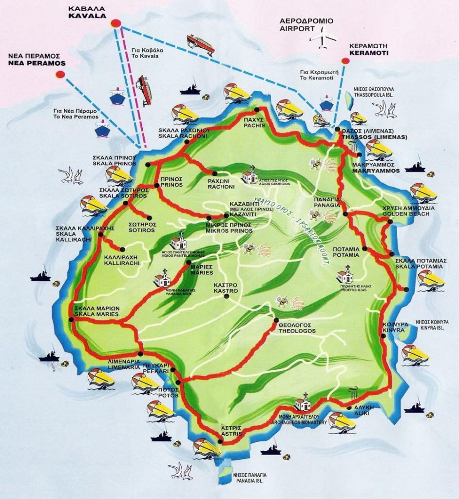 Карта на Тасос