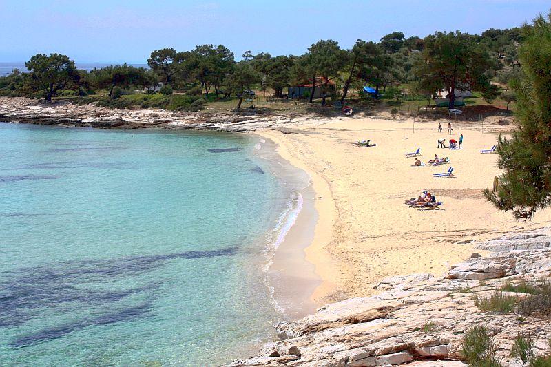 Плажа Фин пясък бряг Тасос